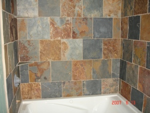 slate tile tub surround